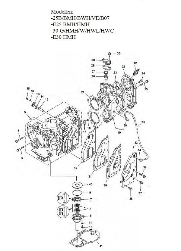Engine Block Parts Yamaha 25 Amp 30 Hp 2 Stroke 2 Cylinder