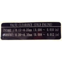 66 m-12138-60 Sticker with adjusting valves sizes Yamaha outboard