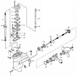 6, 8 & 9.8 Seapro pk (2 cil.) (Inter.) Mercury - Staartstuk Onderdelen