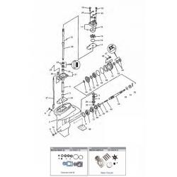 40, 50, 60 pk (4 cil) (EFI) 40 Carb (3 cil) Mariner (Schakelhuis Ø 87.38 mm) (4-takt) Staartstuk Onderdelen