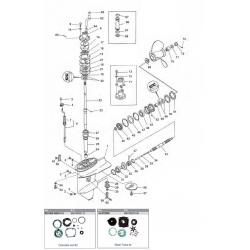 135 t/m 300 pk VERADO 4, 6 cil. (2006+) 4-takt Mariner Staartstuk Onderdelen