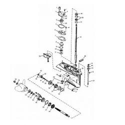 50, 55 & 60 pk (3 cil.) Mercury (Schakelhuis Ø 87.38 mm) (2-takt) Staartstuk Onderdelen
