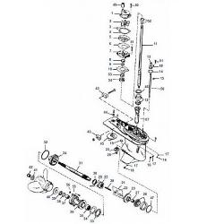30 t/m 125 pk (3 / 4 cil. Inline) (Schakelhuis Ø 107.95 mm) Mercury Big Foot (2-takt) Staartstuk Onderdelen