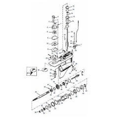 225, 250 EFI, DFI & 3.0L 225 pk (Carb) Mercury (2-takt) Staartstuk Onderdelen