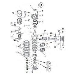 150, 175, 200 & 225 pk V6 - Krukas Onderdelen
