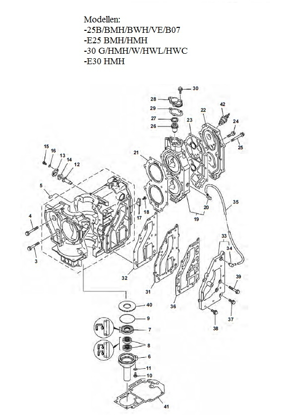 engine block parts yamaha 25  u0026 30 hp  2-stroke  2 cylinder outboard buy